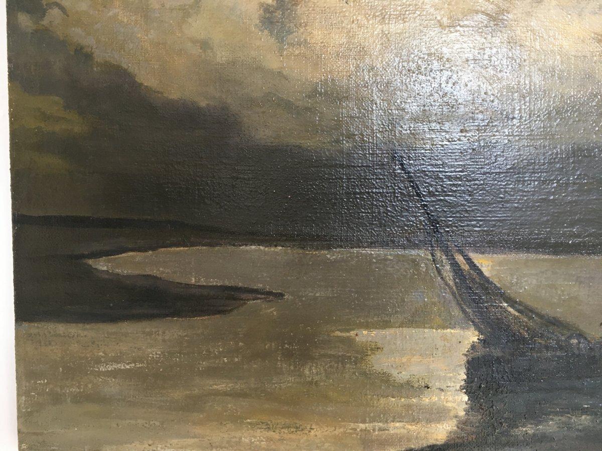 """Albert Matignon, Huile Sur Toile, """"pêche de nuit en baie de Somme""""-photo-1"""