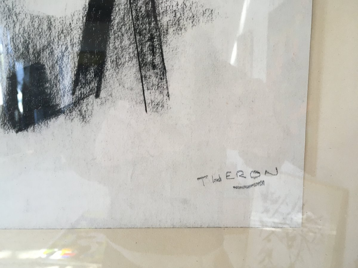 Pierre Théron. Original Charcoal Drawing. Pines On The Arcachon Basin.-photo-2