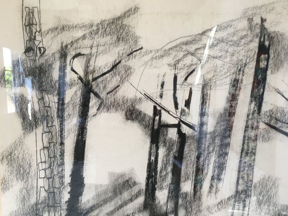 Pierre Théron. Original Charcoal Drawing. Pines On The Arcachon Basin.-photo-4