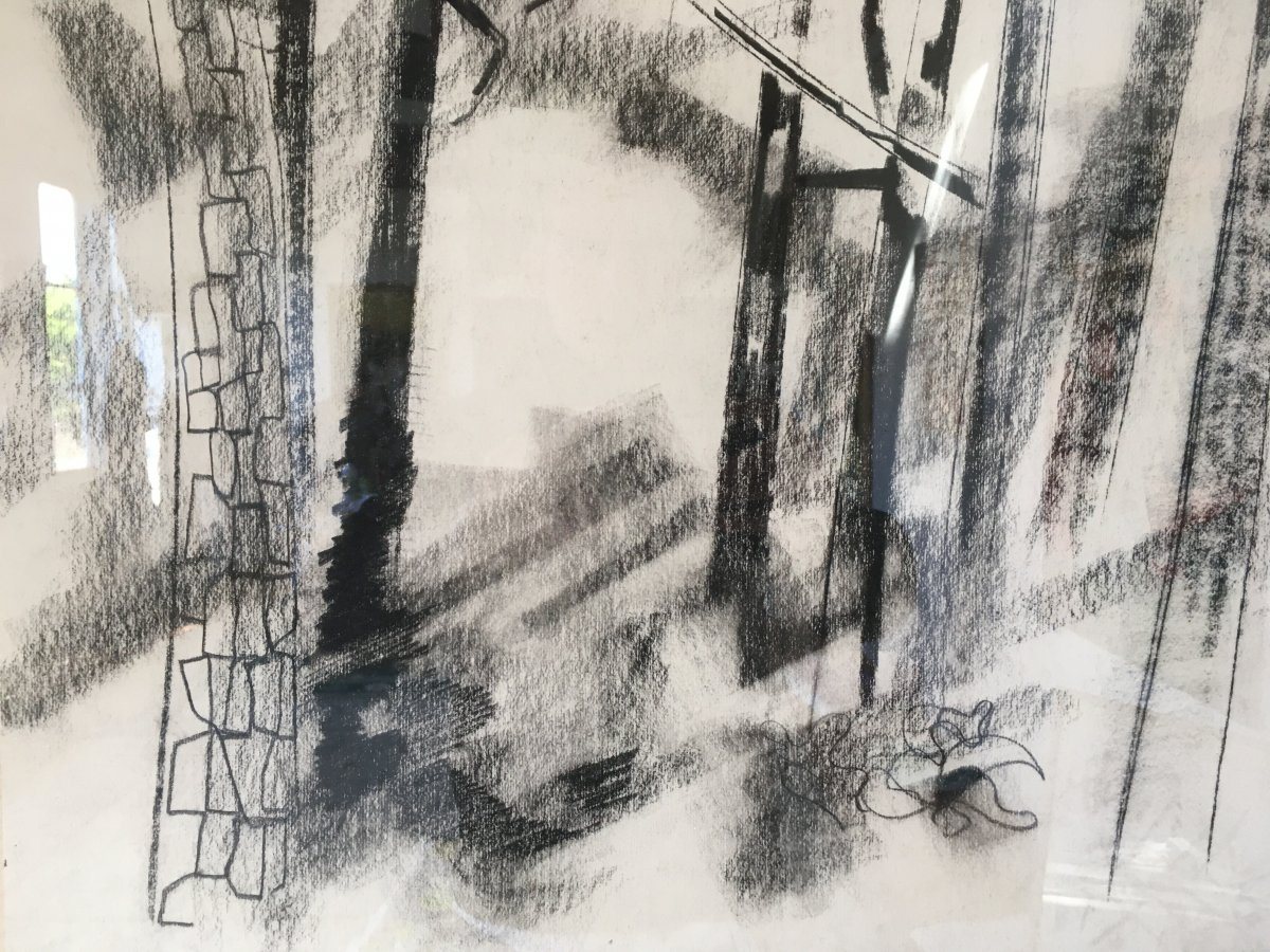 Pierre Théron. Original Charcoal Drawing. Pines On The Arcachon Basin.-photo-1