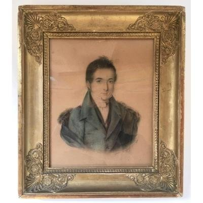 Portrait d'Homme , Dessin Signé Julia Dagoty, Daté 1830.