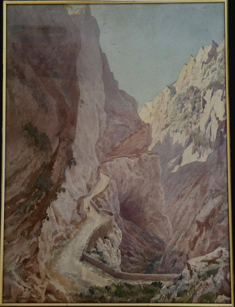 Watercolor Edmond Fontan (1854-1929) Pyrenees, Signed