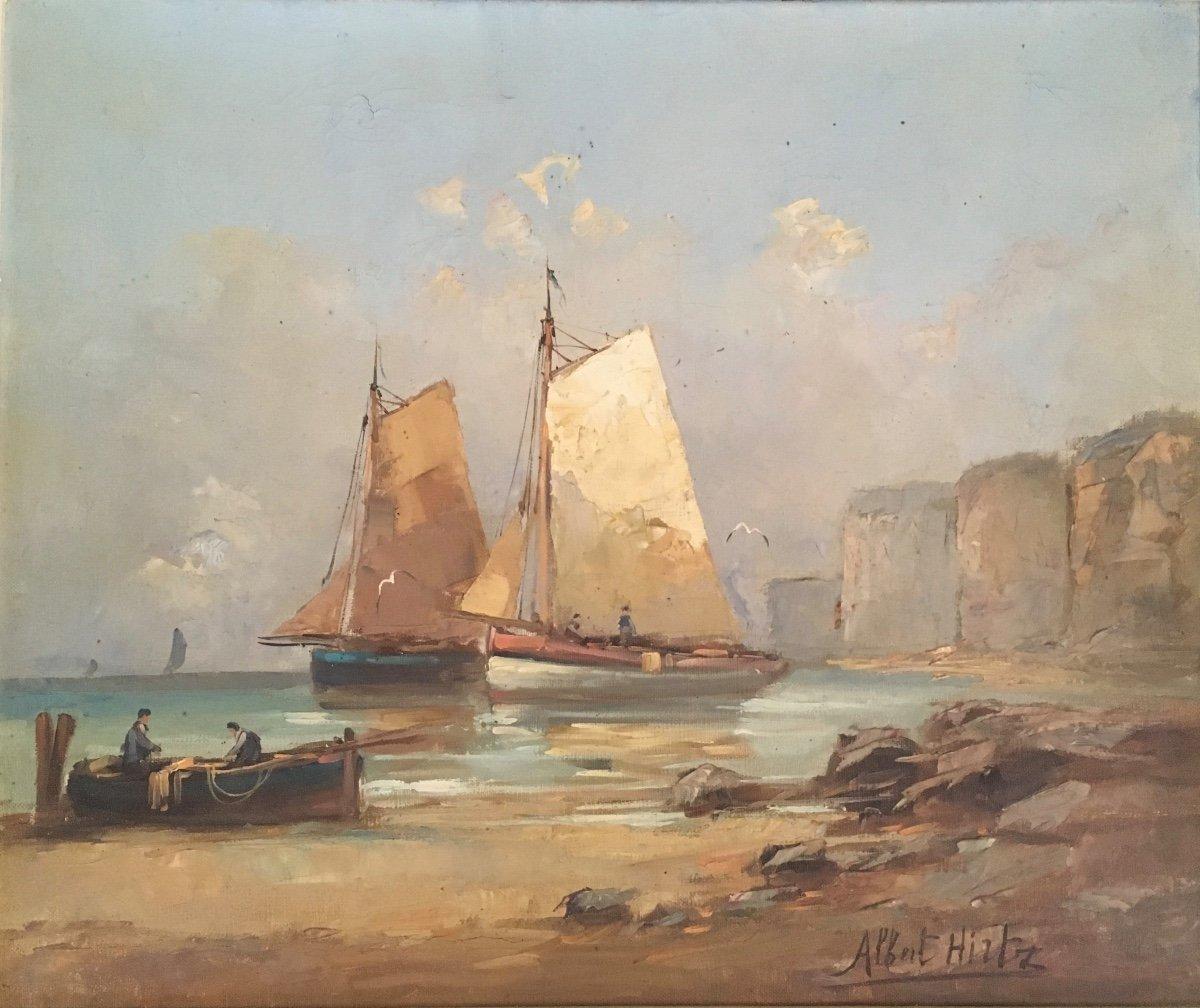 Albert Hirtz; Hulie On Canvas, Marine, Landscape Of Brittany Around 1930.