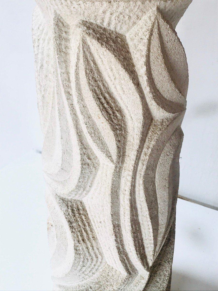 Albert Tormos Lampe Et Sellette En Pierre Sculptée Vers 1960-photo-4