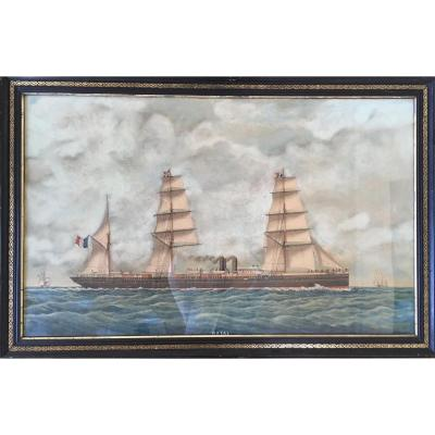 Louis Roux Painter Of The Navy. Watercolor And Gouache On Paper Dated 1882