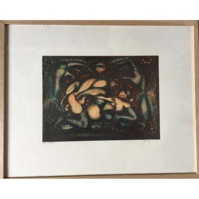 """Pierre Molinier Lithographie érotique, Signée, """" Le temps de la vie 1962"""""""