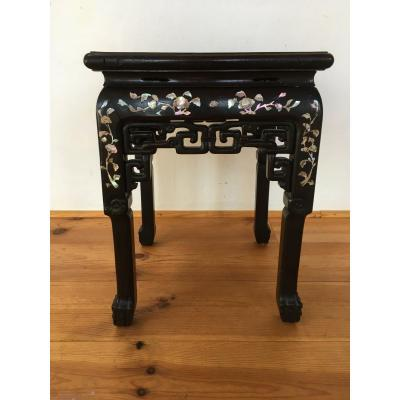 Asian Table, Indochina, Wood And Mother-of-pearl Marquetry.