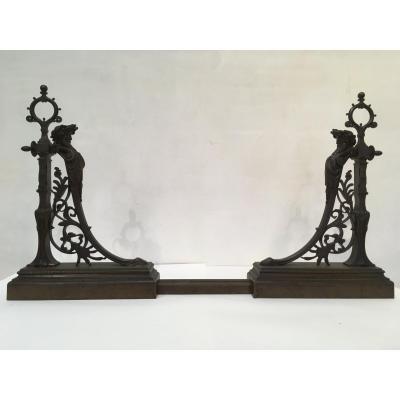Important Bronze Fireplace Ornament Around 1890