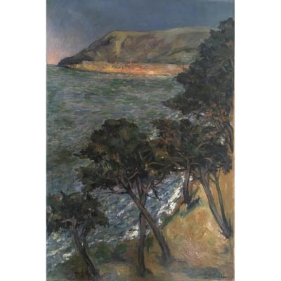 Eugène Léon L 'hoest. Oil On Panel, View Of The Mediterranean Sea. 1920. Beautiful Format.