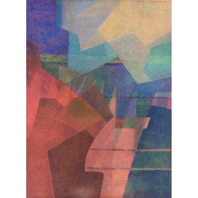 Yves Mafli Né En 1949, Craie Grasse Sur Papier, Paysage De Montagne, Lausanne Suisse.