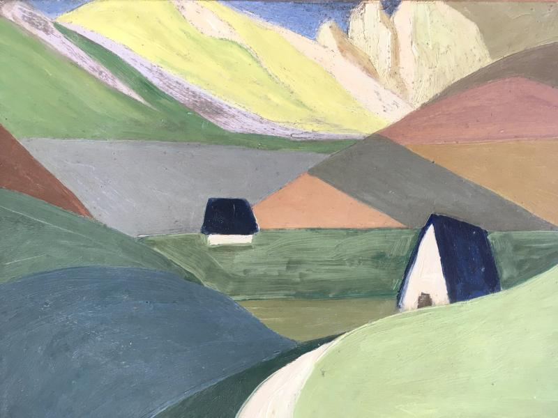 Marcel Legrand. Oil On Cardboard. Mountain Landscape, The Pyrenees Around 1930-photo-2