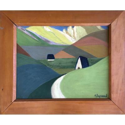Marcel Legrand. Huile Sur Carton. Paysage De Montagne, Les Pyrénées Vers 1930