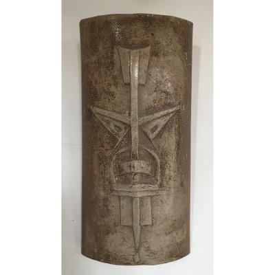 Africanist Ceramic Mask Around 1960. Twentieth Ceramic. Height 50 Cm. Sign