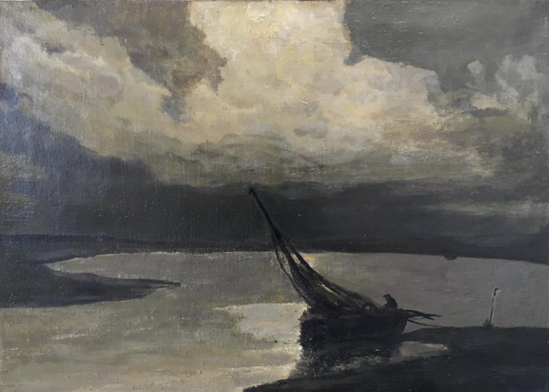 """Albert Matignon, Huile Sur Toile, """"pêche de nuit en baie de Somme""""-photo-4"""