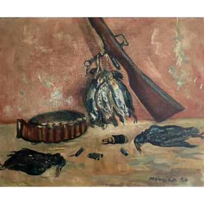 Lucien Mainssieux. Nature Morte Au Fusil. Peintre Orientaliste, Oeuvre Située à Tipasa, Algérie