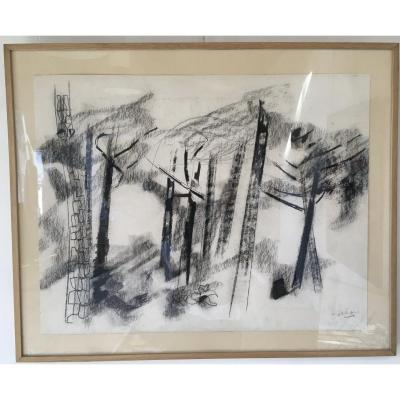 Pierre Théron. Original Charcoal Drawing. Pines On The Arcachon Basin.