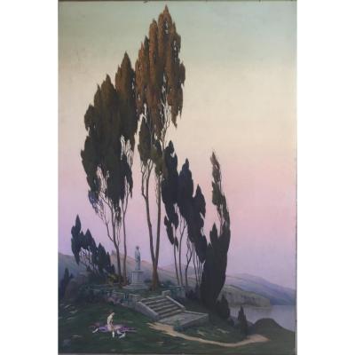 Important Art Deco Painting By J. Nieudan Dated 1929. Bordeaux, Follower Of Jean Dupas.