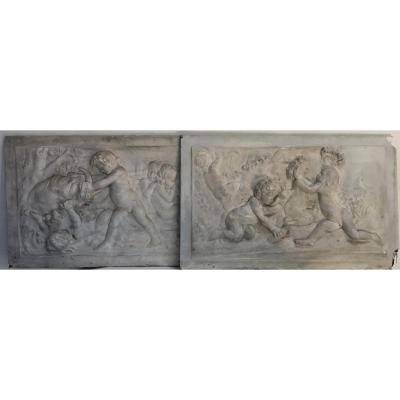 Edmé Bouchardon (1698-1762), Pair Of Plaster Bas-reliefs, Fall & Spring Seasons.