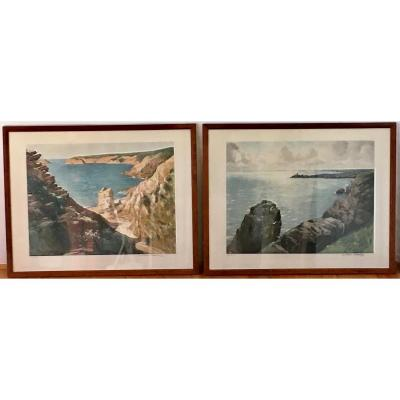 Pair Of Aquatints By Paul-Émile Lecomte (1877-1950) Côtes Atlantique Bretagne - Exc. State.