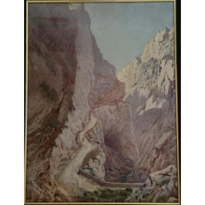 Watercolor Edmond Fontan (1854-1929) Pyrenees, Signed