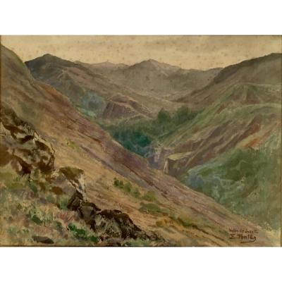 "Watercolor Edmond Fontan (1854-1929), Signed ""e. Fontan"", Located ""vallon De Juzet"""