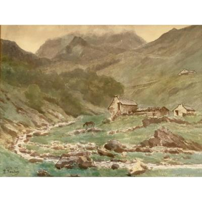 "Watercolor Edmond Fontan (1854-1929), Pyrenees, Signed ""e. Fontan"", Located ""gripp"", Dated ""1902"""