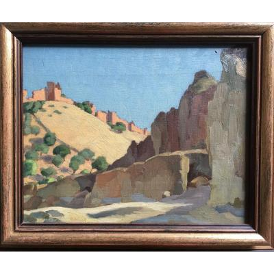 Jules Louis Moréteau. Paysage Marocain. Orientalisme, Africanisme.