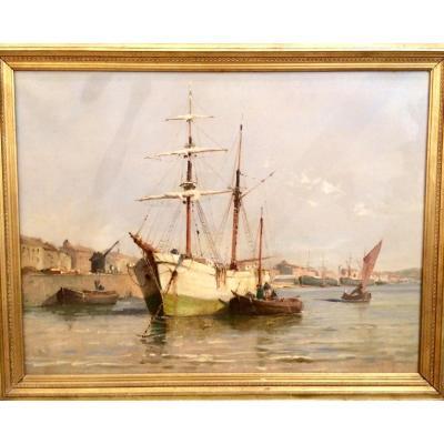 Tableau Huile Sur Toile Port Bordeaux Fin XIXème 1890 - A. Godchaux, F. Barrière, P.l. Cazaubon