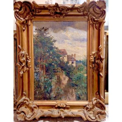 Huile Sur Toile Par Eugénie Moujon Gauvin, XIXème, Charentes Barbizon Impressionnisme Vincennes
