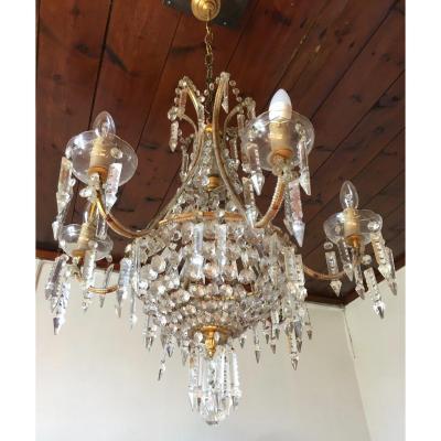 """Lustre en cristal, de forme """"Montgolfière"""" d'inspiration japonisante, Maison Baguès. Pampilles."""