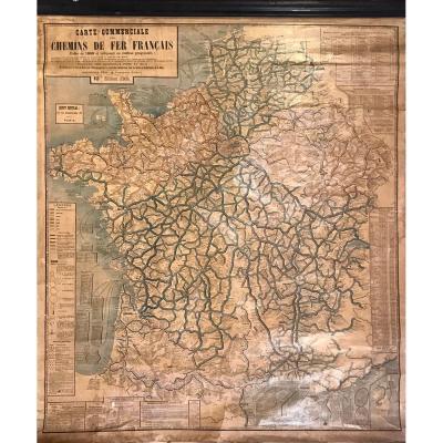 Carte Commerciale Chemin De Fer Français Paris 1868, 10ème Ed. 1903, Gourdoux Père & Fils