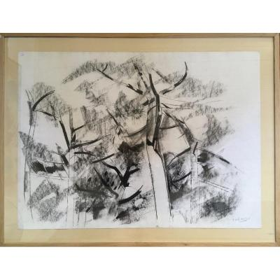 Pierre Theron. Original Drawing Around 1960. The Pines On The Arcachon Basin, Landes De Gascogne