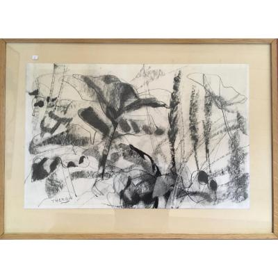 Pierre Theron. Original Drawing Around 1960. Study Of Flowers, Charcoal On Framed Paper (oak)