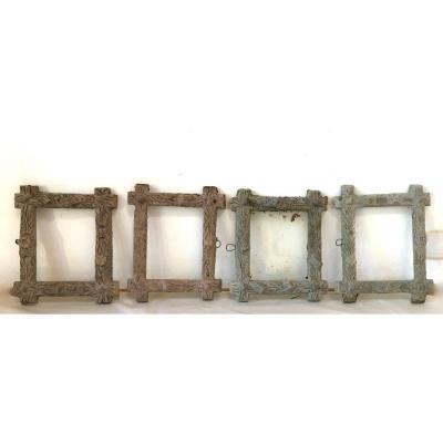 Quatre Cadres, Miroirs Naturaliste En Ciment Motifs De Branchage Vers 1930