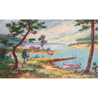 Importante Huile Sur Panneau, Paysage Des Landes, Lac, Vers 1950 Signée