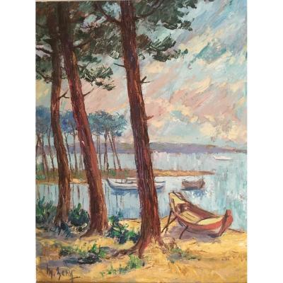 """Importante Huile Sur Panneau, Paysage Des Landes, Lac, Vers 1950 Signée """"M. Bany"""""""