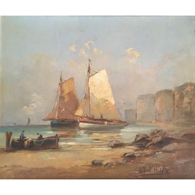 Albert Hirtz; Hulie Sur Toile, marine, paysage de Bretagne vers 1930.