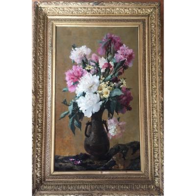 Nature Morte Aux Fleur Japonisante, XIX ème Siècle. Signée, Ch Thomas.