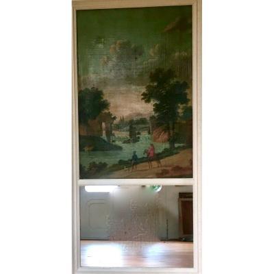 Trumeau De Cheminée Style Louis XVI Scène Champêtre