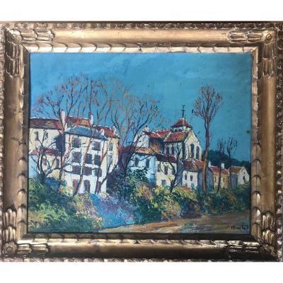 Elisée Maclet (1881-1962) Huile Sur Carton Située Montigny Sur Loing