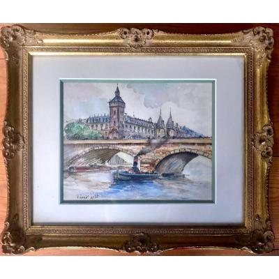 Frank Will (1900-1950) Aquarelle Réhaussée Quais De Seine à Paris Début XXème Siècle