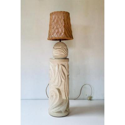 Albert Tormos Lampe Et Sellette En Pierre Sculptée Vers 1960