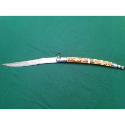 """Large Hunting Knife """"solognot"""" Folding, Chatellerault Manufacture."""