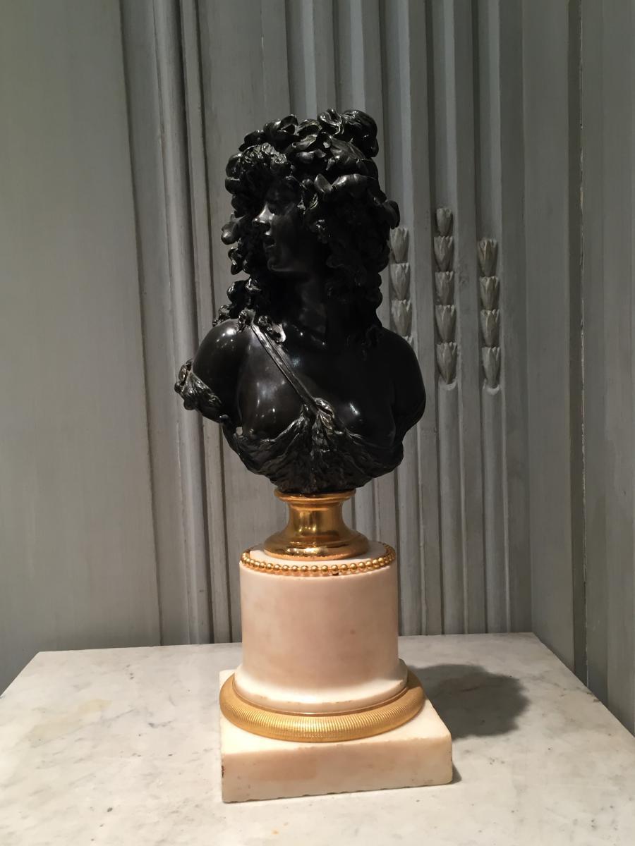 Buste En Bronze Patiné Attribué à Marin XIXème Siècle