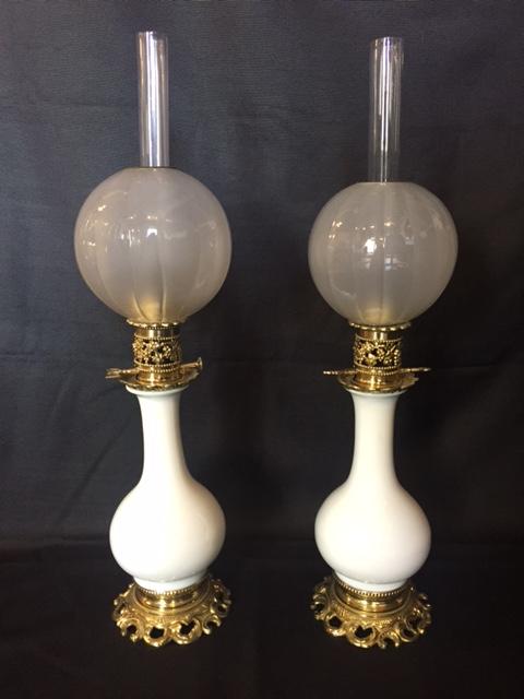 Paire De Lampes à Pétrole XIX