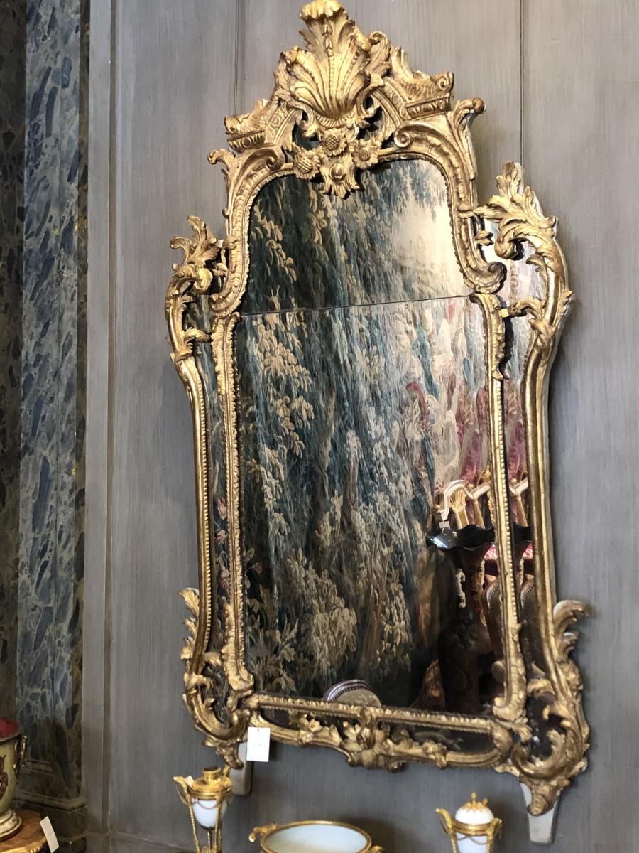 Miroir d'époque Régence En Bois Doré