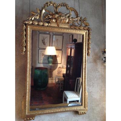 Miroir En Bois Doré d'époque Louis XVI