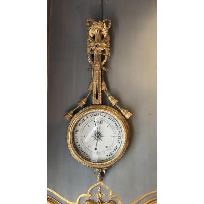 Baromètre d'époque Louis XVI En Bois Doré