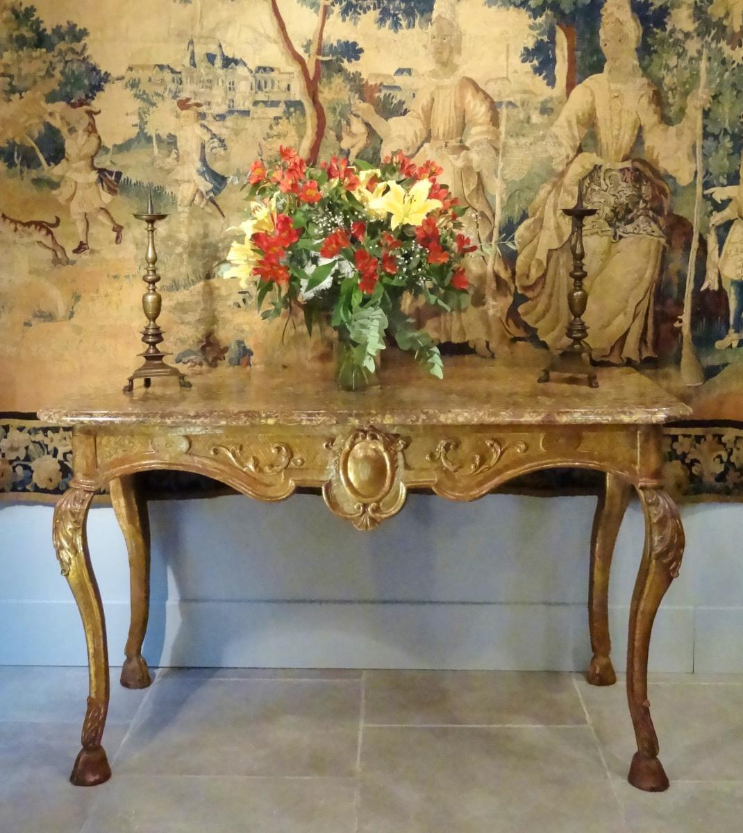 Grande Table à gibier / console en bois doré d'époque Régence  XVIII°