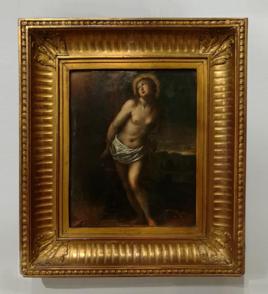 Peinture sur cuivre représentant «Sainte Christine de Rome» d'époque XVIII°